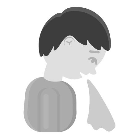 the vomiting: Vómitos icono en blanco y negro. Solo icono enferman de los grandes, en blanco y negro enferma enfermedad.