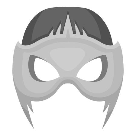 Full head mask icon in monochrome style isolated on white background. Superheros mask symbol vector illustration.
