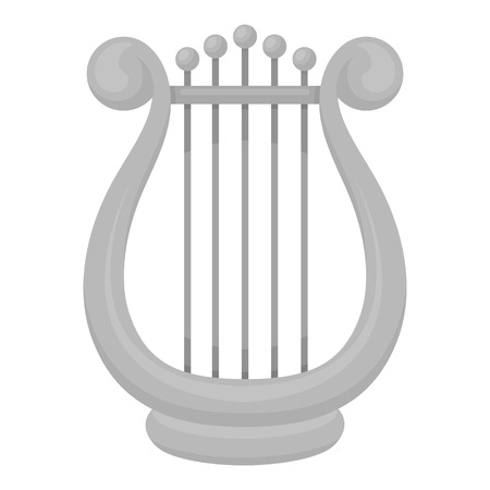 Harp icon in monochrome style isolated on white background. Theater symbol vector illustration