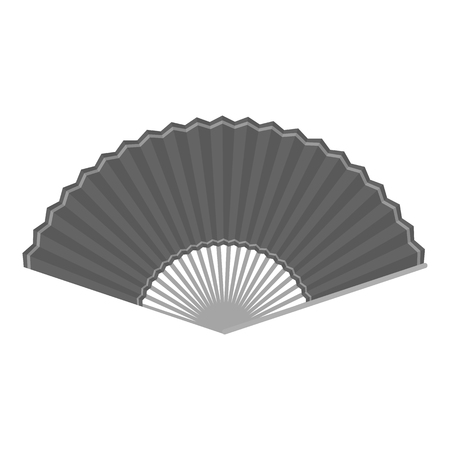 cartoom: Folding fan icon in monochrome style isolated on white background. Theater symbol vector illustration