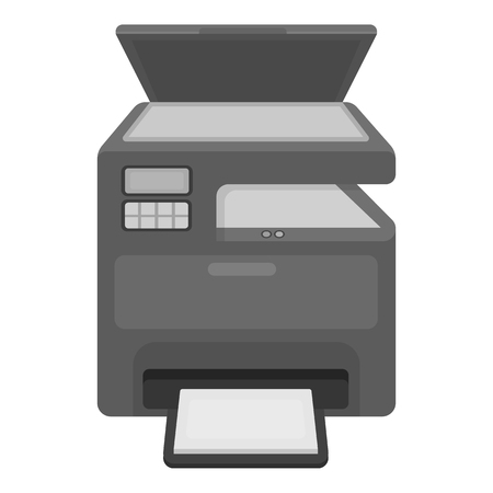 multifunction printer: Multi-function printer in monochrome style isolated on white background. Typography symbol vector illustration.