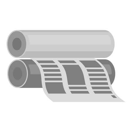 rolled newspaper: Newspaper printing machine in monochrome style isolated on white background. Typography symbol vector illustration.
