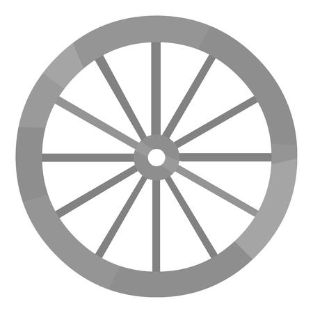 Cart-wheel pictogram zwart-wit. Singe westerse icoon uit het wilde westen zwart-wit.