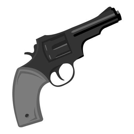 six gun: Revolver icon monochrome. Singe western icon from the wild west monochrome.