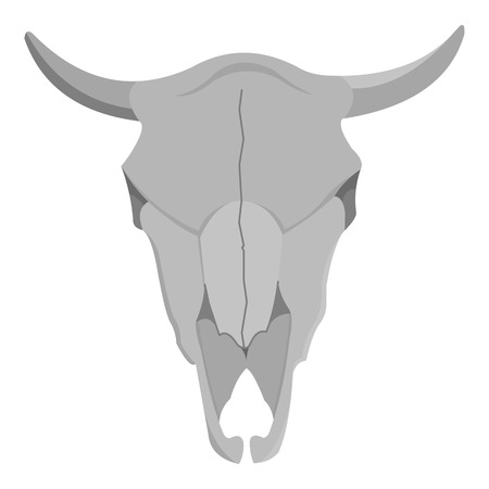 dry cow: Bull skull icon monochrome. Singe western icon from the wild west monochrome.