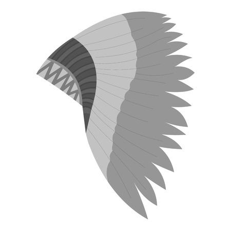 mohawk: Mohawk indian icon monochrome. Singe western icon from the wild west monochrome.