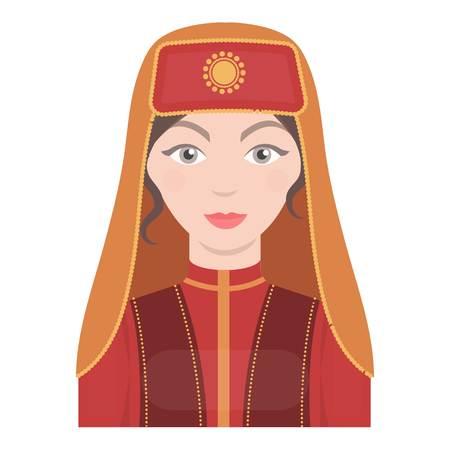 Turkish woman icon in cartoon style isolated on white background. Turkey symbol vector illustration.