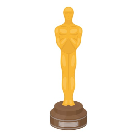 Academy award icon in cartoon style isolated on white background. Films and cinema symbol vector illustration.