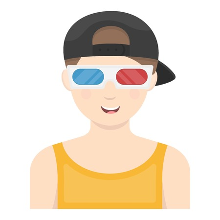watching 3d: Young man watching movie in 3D glasses. Films and cinema symbol vector illustration.