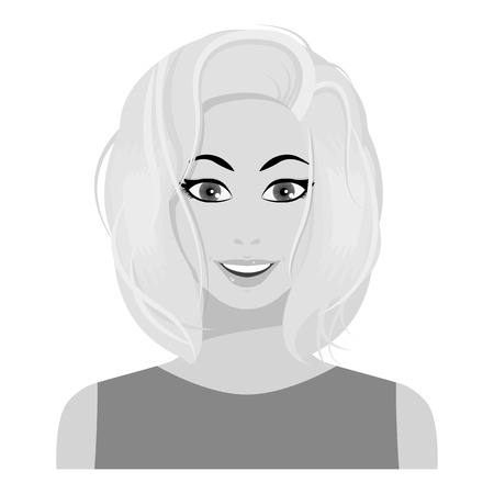 medium: Blonde icon in monochrome style isolated on white background. Woman symbol vector illustration.