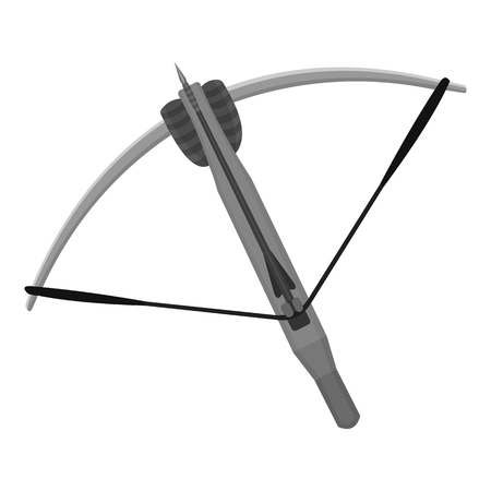 crossbow: Crossbow icon monochrome. Single weapon icon from the big ammunitio, arms monochrome.