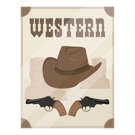 icona di film western in stile cartone animato isolato su sfondo bianco. Film e cinema simbolo illustrazione vettoriale.