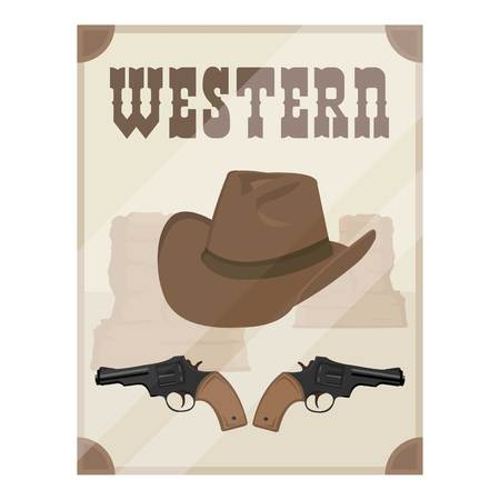 Western movie icon in cartoon style isolated on white background. Films and cinema symbol vector illustration.