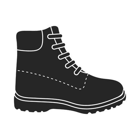 Senderismo icono de botas de estilo negro sobre fondo blanco. Zapatos ilustración vectorial símbolo.