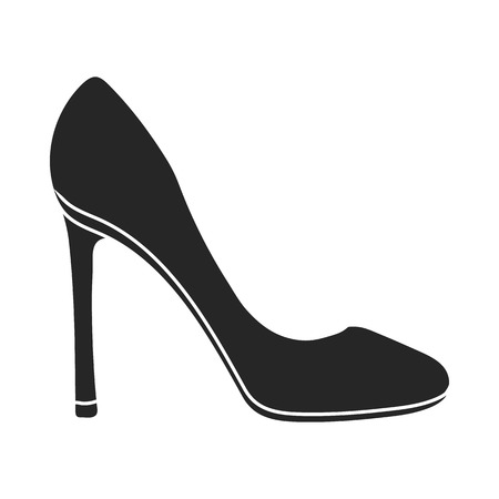stiletto: Stiletto icon in  black style isolated on white background. Shoes symbol vector illustration.