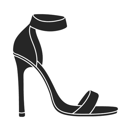 clogs: Ankle straps icon in  black style isolated on white background. Shoes symbol vector illustration.