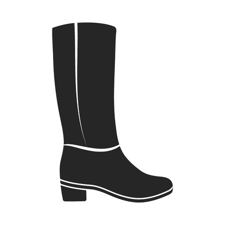 women s clothes: Knee high boots icon in  black style isolated on white background. Shoes symbol vector illustration. Illustration