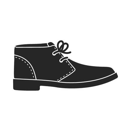 Oxfords icon in  black style isolated on white background. Shoes symbol vector illustration. Illustration