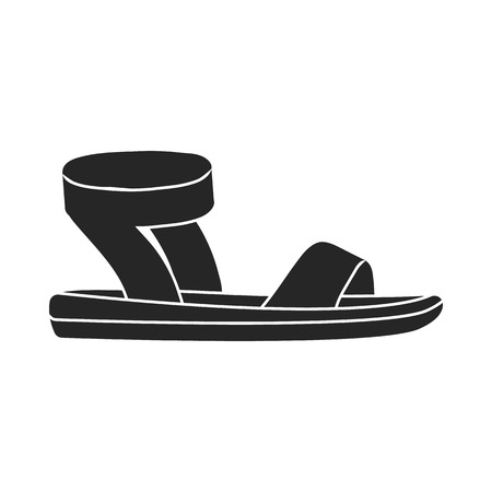 woman sandals: Woman sandals icon in  black style isolated on white background. Shoes symbol vector illustration. Illustration