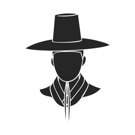 old times: Traditional korean hat icon in  black style isolated on white background. South Korea symbol vector illustration.