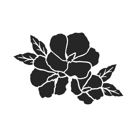 Rose of sharon icon in  black style isolated on white background. South Korea symbol vector illustration. Illustration