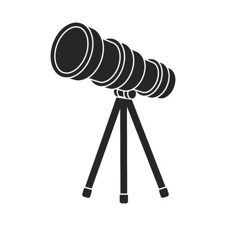 ocular: Telescope icon in  black style isolated on white background. Space symbol vector illustration. Illustration