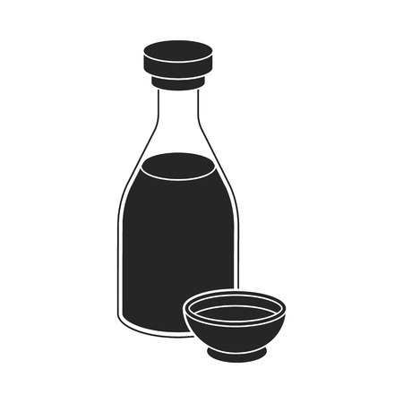 chinese food container: Soy sauce icon in  black style isolated on white background. Sushi symbol vector illustration.