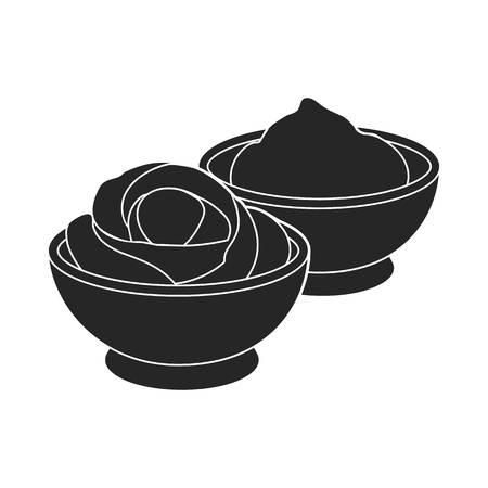 wasabi: Wasabi and ginger icon in  black style isolated on white background. Sushi symbol vector illustration.
