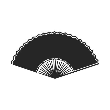 cartoom: Folding fan icon in  black style isolated on white background. Theater symbol vector illustration