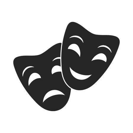 Teatr maskuje ikonę w stylu czarno na białym tle. Teatr symbol wektor ilustracja