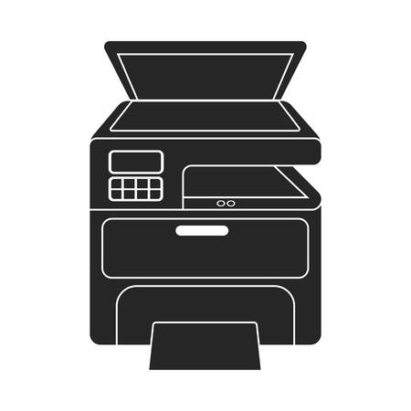 multifunction printer: Multi-function printer in  black style isolated on white background. Typography symbol vector illustration.
