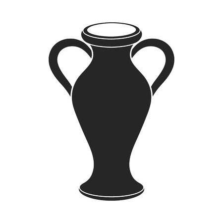 greek pot: Amphora icon in  black style isolated on white background. Theater symbol vector illustration