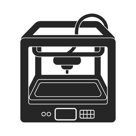 3d printer: 3D Printer in  black style isolated on white background. Typography symbol vector illustration.