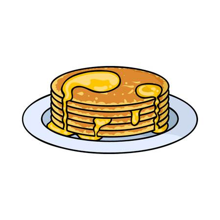 Pancakes with honey icon in cartoon style isolated on white background. Apairy symbol vector illustration Illustration