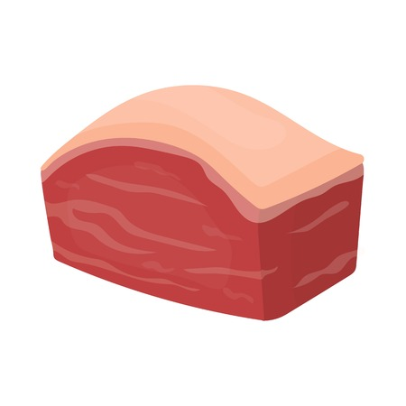 meats: Pork belly icon in cartoon style isolated on white background. Meats symbol vector illustration