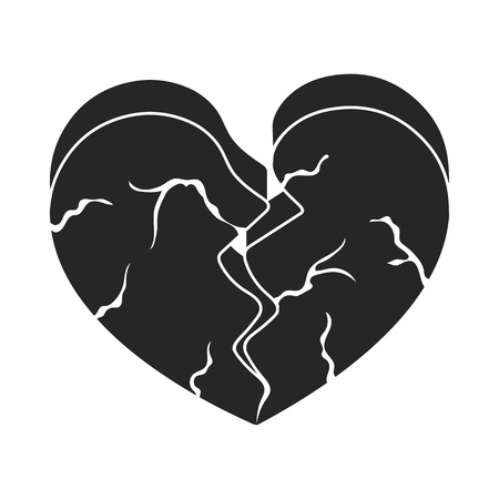 miserable: Heart icon in black style isolated on white background. Romantic symbol vector illustration.