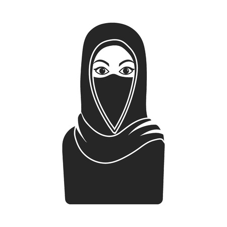 niqab: Niqab icon in black style isolated on white background. Religion symbol vector illustration.