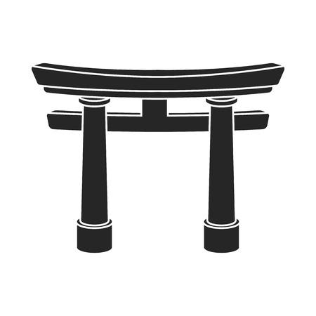 shinto: Torii icon in black style isolated on white background. Religion symbol vector illustration. Illustration
