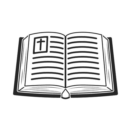 vangelo aperto: Bible icon in black style isolated on white background. Religion symbol vector illustration. Vettoriali