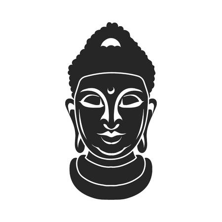 ancient yoga: Buddha icon in black style isolated on white background. Religion symbol vector illustration.