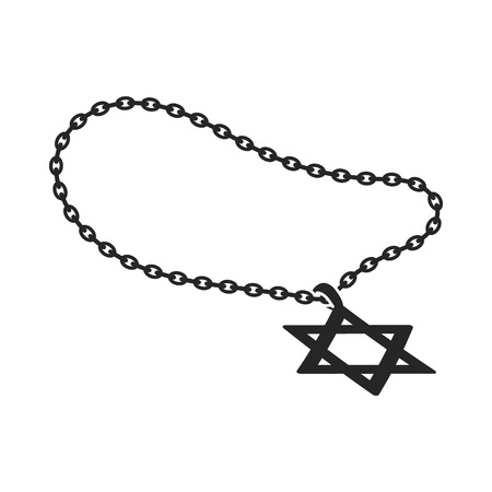 lavaliere: Star of David icon in black style isolated on white background. Religion symbol vector illustration.