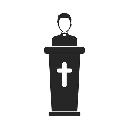 Priest icon in black style isolated on white background. Religion symbol vector illustration. Illustration