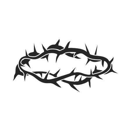 Crown of thorns icon in black style isolated on white background. Religion symbol vector illustration.