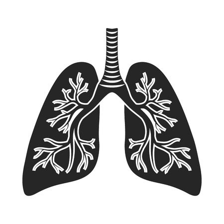 Lungs icon in black style isolated on white background. Organs symbol vector illustration. Illustration