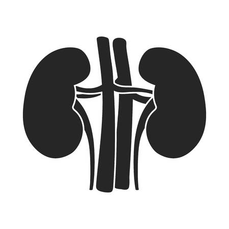 wastes: Kidney icon in black style isolated on white background. Organs symbol vector illustration.