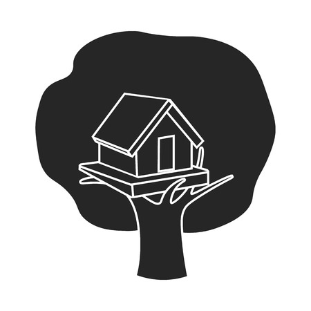 front or back yard: Tree house icon in black style isolated on white background. Play garden symbol vector illustration. Illustration