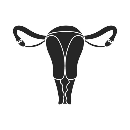 cervix: Uterus icon in black style isolated on white background. Pregnancy symbol vector illustration.