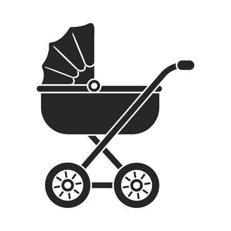 Baby transport icon in black style isolated on white background. Pregnancy symbol vector illustration. Illustration