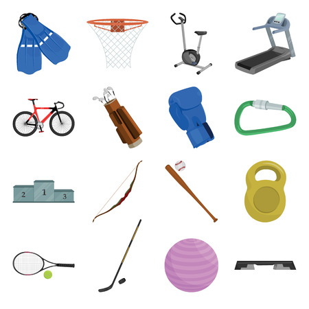 carbine: Sport and fitness set icons in cartoon style. Big collection sport and fitness vector symbol stock Illustration