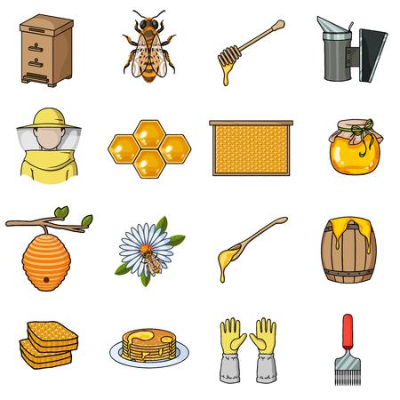 Bijenstal set pictogrammen in cartoon stijl. Grote collectie bijenstal vector symbool stock Stock Illustratie